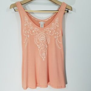 Love on a Hanger Tank Embroidered Coral Size M